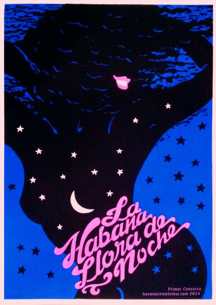 Darwin Fornés Báez. Diseñador cubano. Cartel La Habana Llora de noche.