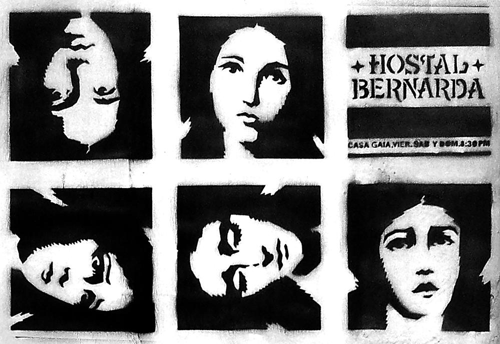 Darwin Fornés Báez. Diseñador cubano. Hostal Bernarda Alba cartel con técnica de stencil.
