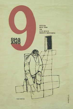 Nueve días de un año (Icaic, Rafael Morante, 1963). Cartel cubano.