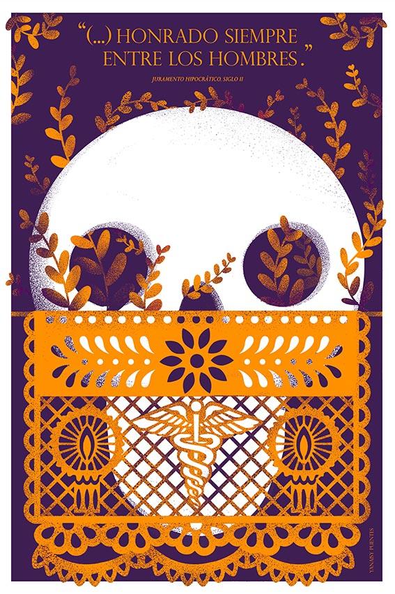 Yanaisy Puentes. Diseñadora e ilustradora cubana. Cartel para la exposición Autopsia colectiva.